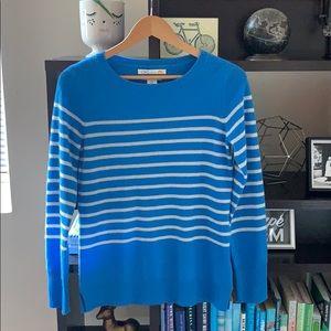 C&C California 2 Ply Cashmere Blue Striped Sweater